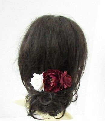 Burgundy Wine Red Ivory Peony Rose Flower Hair Comb Bridesmaid Fascinator 5362