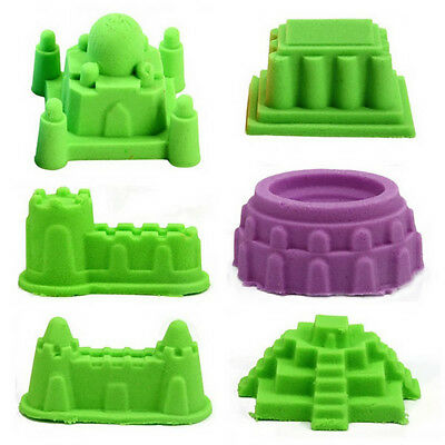 6Pcs Magic Sand Castle Mold Indoor Outdoor Sand Molding Beach Play Toy for Kids