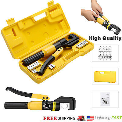 10 Ton Hydraulic Wire Battery Cable Lug Terminal Crimper Crimping Tool 8 Dies