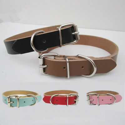 AU 1Pc Leather Dog Cat Collar Leather Small/Medium/Large S/M/L/XL Adjustable