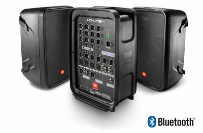 "JBL Eon208P 8"" 300W PA System 8 Channel Mixer and Bluetooth - w/Speaker Stands."