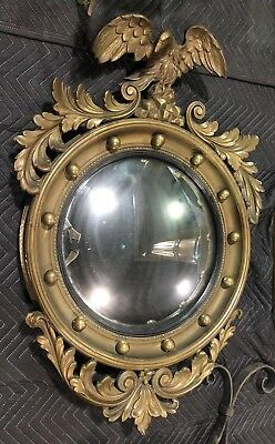 RARE Vintage Antique Large Gold Leaf Wood EAGLE MIRROR Round Wall Bird Mirror