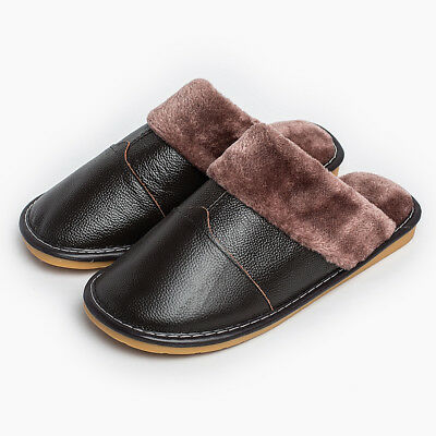 Winter Warm Soft Fuzzy Lined House Indoor Genuine Leather  Slipper Shoes for Men