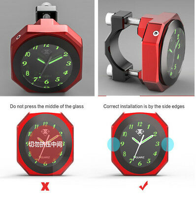 1xMotorcycle Luminous Clock Time T6063 Aluminum Alloy Waterproof Can Use As Gift
