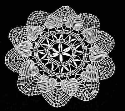 HEART Pattern WHITE CLUNY LACE Style PAIR 8 inch DOILIES 2 Doilies