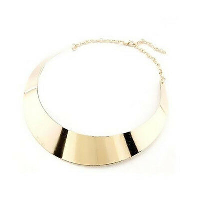 Torque Punk Gothic Wide Women Metal Curved Choker Rock Style Collar Necklace