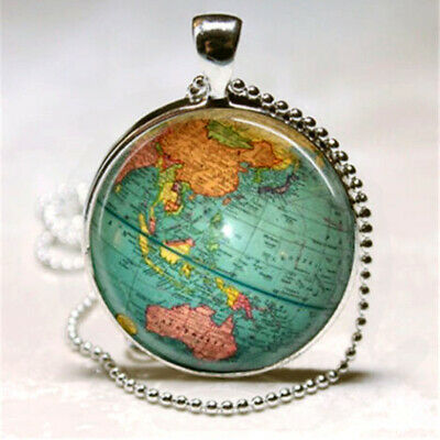 Vintage Map Cabochon Glass Necklace Pendant with Ball Chain Necklace