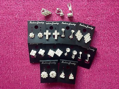 JOBLOT-10 pairs of CLIP ON crystal diamonte earrings.Silver plated.UK handmade.