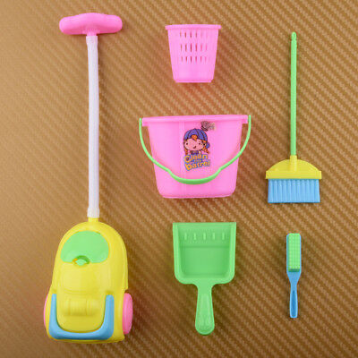 6x Accessories Dolls House Broom Bucket Cleaning Tools Set for Barbie Dollhouse