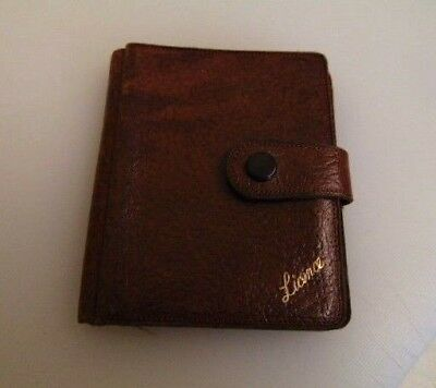 vintage brown leather leather wallet notes driving insurance & licence