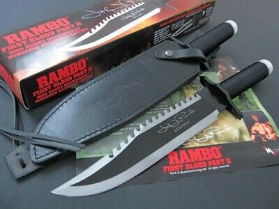 Rambo First Blood Part Ii Licensed Manual Sign Sharp Camp Survival Hunting Knife