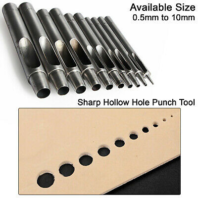 Heavy Duty Metal Hollow Hole Punch Tool DIY Various Leather Crafts 0.5mm - 10mm
