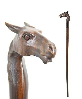 HORSE pony wooden walking stick / cane - mare STALLION - hand carved BOXED item