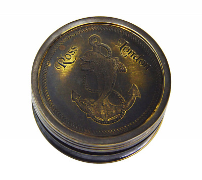 """2"""" Brass Ross London Compass With Robert Frost Poem inside the lid/Pocket"""