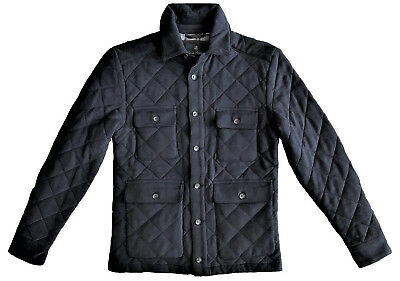 $398.00 Brooks Brothers Diamond Quilted, Trim Fit Navy Plaid Jacket, Imported