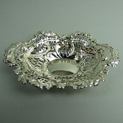 Victorian Antique Ornate Silver Bon Bon Dish Chester 1896 - 74 Grams