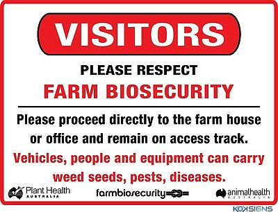 Visitors Farm Biosecurity Safety Sign  ---  Various Sizes Sign & Sticker Options