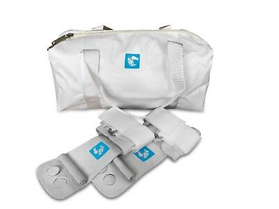 gymadvisor junior white leather gymnastic uneven bar hand guards + white kit bag