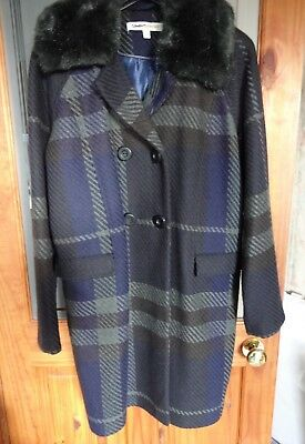 Clements Ribeiro Plaid/Check Coat Size 14 Faux Fur Collar Blue Brown & Grey