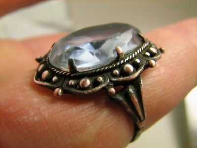 AUTHOR'S WORK ! VINTAGE STERLING SILVER RING with STONE ! 100% WEARABLE! #6893