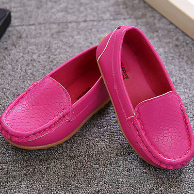Kid Boys Girls Oxford Soft Loafers Flats Casual PU Boat Shoes Toddler Slip On