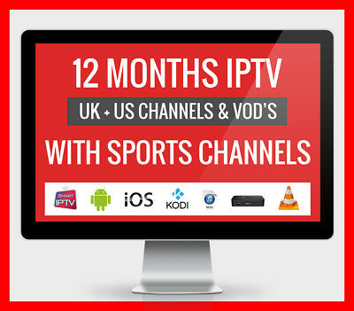 IPTV 12 MONTH SUBSCRIPTION & VOD Smart IPTV, MAGBOX, ANDROID, FIRESTICK, 3PM