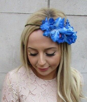Electric Blue Orchid Hibiscus Tropical Flower Headband Hair Crown Floral 5376