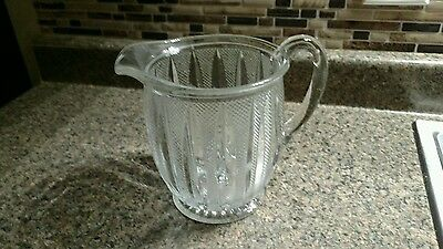 Pitcher Glass Beer Water Heavy Clear Vintage Vintage Antique