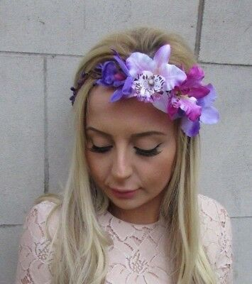 Purple Lilac Orchid Tropical Flower Headband Hair Crown Floral Festival 5377