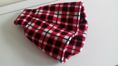 Red/White Tartan Fleece Feet Pouch Slippers Cover Only for Hot Water Bottle 2L