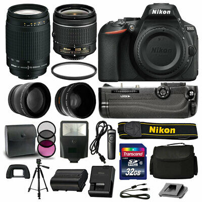 Nikon D5600 DSLR Camera 4 Lens Kit: 18-55mm VR +70-300 +Battery Grip Great Value