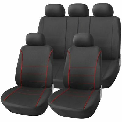 Dacia Logan 1.5 dCi Ambiance 5d 2016 LUXURY SEAT COVER SET BLACK & RED PIPING