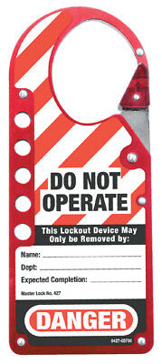 Master Lock 427 Red Labeled Lockout Hasp Snap-On 5 Padlock Capacity