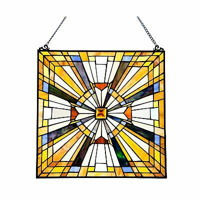 Pharaohs Jeweled Stained Glass Panel: 17.5 Inch Decorative Window Hanging - T...