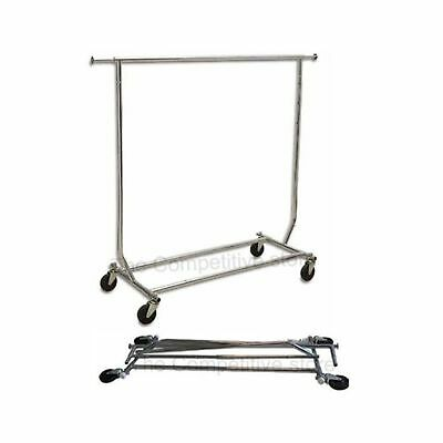 NEW Collapsible Folding Salesman Rolling Clothing Garment Retail Display Rack