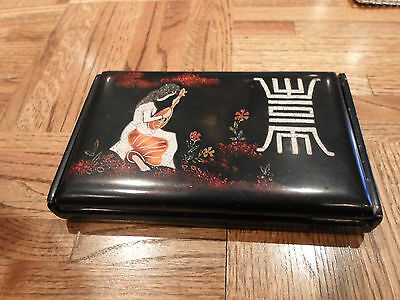 Unique Black Lacquer Box Hand Painted Girl Playing Biwa, Japan
