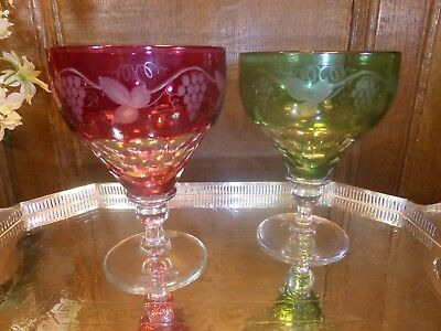 "PAIR John Walsh/French CRYSTAL ""FRUITING VINE"" cut to clear LARGE WINES - 5.6"""
