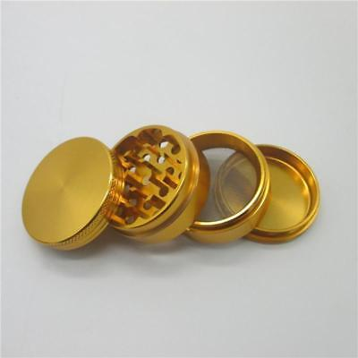 GOLD  50 MM HERBS GRINDER 4 PARTS Magnetic Metal Diamond Teeth UK SELLER