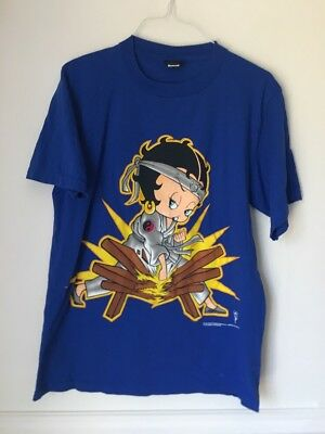 Betty Boop Girls Rule Karate Vtg 1998 Blue Changes Shirt XL