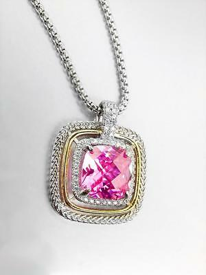 EXQUISITE Square Silver Wheat Cable Pink 12.66ct CZ Crystal Pendant Necklace