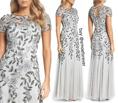 Nwt 300 Adrianna Papell Floral Beaded Trumpet Gown Silver Sz 8 16