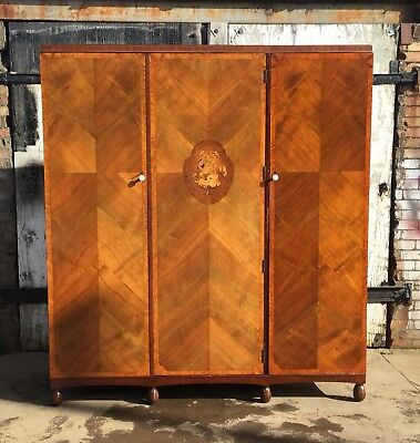 Antique Victorian Inlaid Mahogany Triple Wardrobe with Internal Drawers