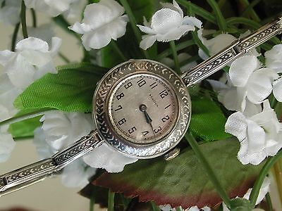 Art Deco Bulova Sterling Silver Enamel Watch ~ Enamel Sterling Silver Band~ Runs