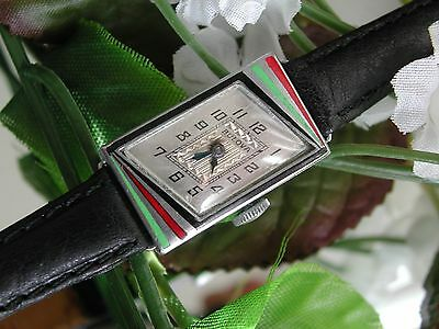 1929 Ladies Art Deco 14K GF Aztec Colors Enamel Bulova Watch~ SERVICED