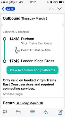 2x standard seats tickets From Durham to London (King cross) - (SOLD)