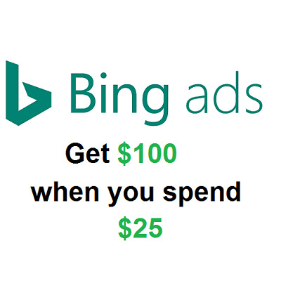 Bing Ads $100 Promotional Offer when you spend $25 US ONLY