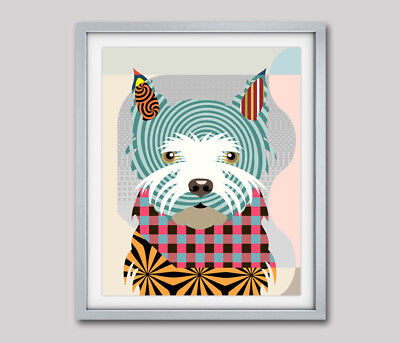 West Highland Terrier Print Dog Westie Painting Poster Puppy Pet Portrait 8x10