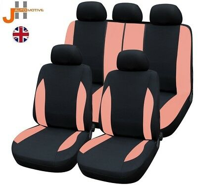 HEAVY DUTY BLACK & PINK SEAT COVER SET FOR DACIA Logan 1.5 dCi Ambiance 5d 2016