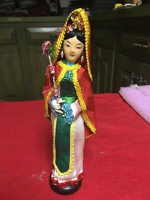 "Vintage Cloth Asian Chinese Doll Figure 10"" w/Hand Painted Face & silk Dress"