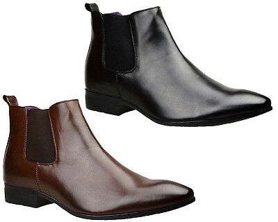 New Mens Leather Chelsea Boots Smart Formal Ankle Wedding Dress Party Shoes Size